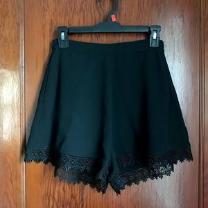 High Waisted Black Shorts with Crochet Trim